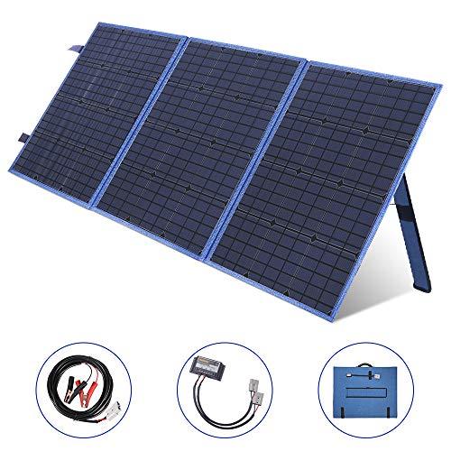 SARONIC 150W 12V Tragbarer Faltender Sonnenkollektor mit einem 10A Solarladeregler für Camper, Caravaning, Motorhome-Rallyes, Mobile Office 12V-System(Blau)