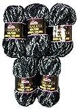 Ilkadim 5 ovillos de lana de bebé de 100 gramos, multicolor, 500 gramos de lana Animal Colours Super Bulky (negro y gris 83106)
