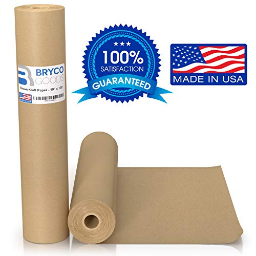 Brown Kraft Paper Roll - 18 x 1,200 (100') Made in The USA - Ideal for Packing, Moving, Gift Wrapping, Postal, Shipping, Parcel, Wall Art, Crafts, Bulletin Boards, Floor Covering, Table Runner