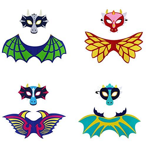 LOLANTA Alas de Dinosaurio para niños y Disfraz de máscara de Fieltro para niños, niñas y dragón, Regalos de Fiesta