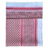ruiruiNIE 140x140 CM para Hombre Pañuelo Turbante Sombrero Musulmanes Árabes Dubai Retro Geométricos Patrones ondulados Jacquard Bufanda Cuadrada Chal Hijab Islámico Bandana Headwrap - Rojo