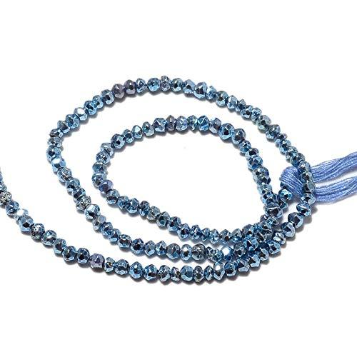 LOVEKUSH Raras cuentas de pirita Rondelle de 10 hilos, cuentas de piedra de pirita, cuentas facetadas, pirita azul recubierta, cuentas de 3,5 mm a 4 mm, 14 pulgadas cada código RM560
