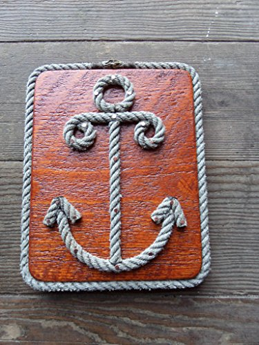 ANCHOR Sign Made with Rope on Re-purposed Wood Great Gift for Fisherman, Sailors, Nautical & Beach Decor