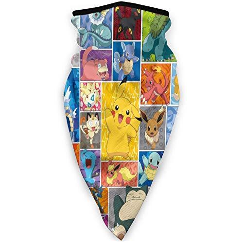 Máscara facial unisex de Pokémon, transpirable, lavable, para la cabeza, pasamontañas, polvo, resistente al viento, para hombres y mujeres, deportes al aire libre