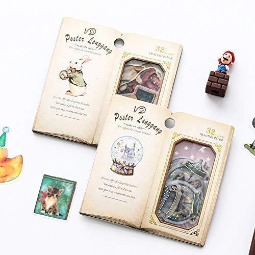 32 Pcs/pack Retro Open Book Vintage Sticker Pack Label Set Crystal Ball Rabbit Gemstone Candy Flower Dairy Decor Stickers