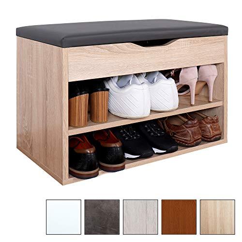 RICOO Banco de armario Zapatería con almacén plegable WM032-ES-A Estanterías con asientos acolchado para casa entrada madera Baúl de botas almacenamiento de zapatos Color Roble Sonoma y gris antracita
