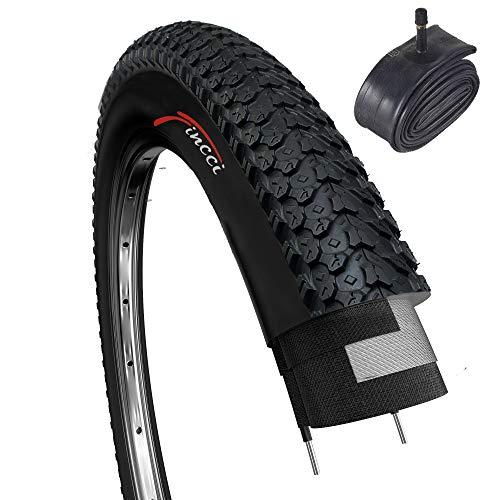 Fincci MTB montaña híbrida neumático de bicicleta Cubiertas 26 x 2,125 57-559 y Schrader tubo interno