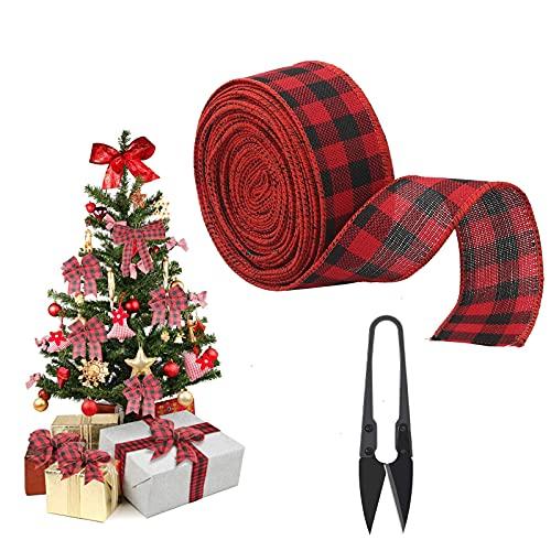 HAMOOM 3,8 cm * 10 m Decorazione per Albero di Natale Nastri Nastro Raso Rosso Ornamento Quadrato Nero Cucito Fai Da Te Scatole Imballaggio Accessori Rustici Vintage Scozzesi Fai-da-te Encaje.