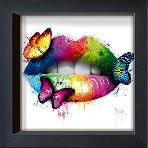 International Graphics Gerahmte Postkarte - MURCIANO, Patrice - ''Butterfly Kiss'' - 16 x 16 cm - schwarzer Rahmen