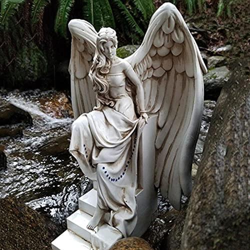 Mstoio ala Ángel Figuritas Estatua Decoración del hogar Adorno Escultura de la divinidad Escultura de Resina Creativa para el jardín Puerta de la casa Up Rand Decor-1