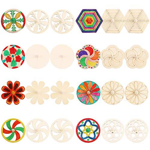Joyibay 24PCS Spinning Top naturale fai da te Spin Spin giocattolo giocattolo di legno per i bambini
