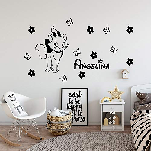 AQjept Lindo Gato Personalidad Nombre Vinilo Pegatinas de Pared habitación de los niños Papel Tapiz decoración calcomanía Etiqueta decoración de la pared43x25cm