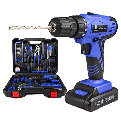 Cordless Hammer Drill Tool Kit SUPSOO 60Pcs Household Power Tools Drill Set with 20V Lithium Cordless Drill Driver Claw Hammer Wrenches Pliers