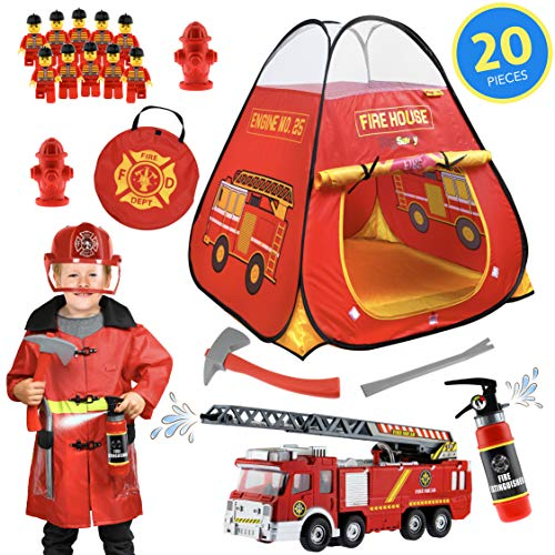 PlaySavvy Pop Up Play Tent & Pretend Fireman Costume for Kids, Toddlers, Boys, Girls - Firefighter Dress Up Set with Toys, Electric Fire Truck, Hat, Jacket, Tools, Hydrant, Lil People - 20 Pc Gift Set
