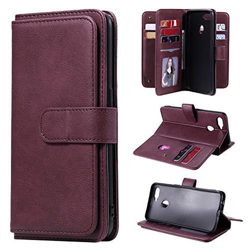 Snow Color Oppo A5S / A7 Hülle, Premium Leder Tasche Flip Wallet Case [Standfunktion] [Kartenfächern] PU-Leder Schutzhülle Brieftasche Handyhülle für Oppo A5S (AX5S) / A7 (AX7) - COKT020370 Rotwein