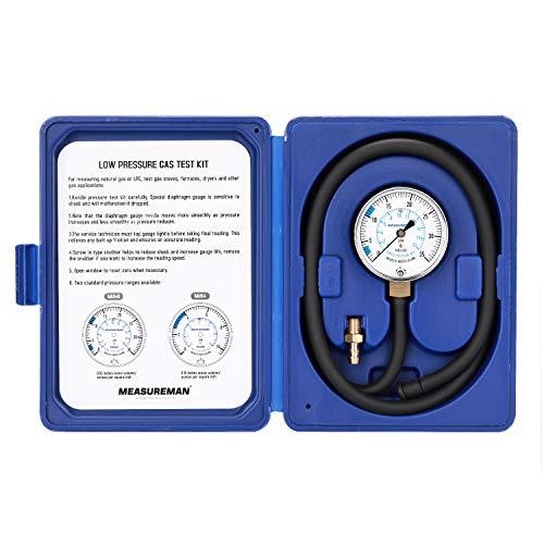 "Measureman Natural Gas or LP Gas Manifold Pressure Test Kit, 0-35 ""W.C., 1/4""NPT, 40"" Length Hose"