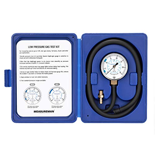 Measureman Natural Gas or LP Gas Manifold Pressure Test Kit, 0-35 W.C., 1/4NPT, 40 Length Hose