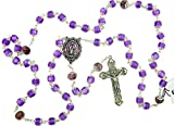 DTC Our Lady Rosary with Purple Catseye Our Father Prayer Beads