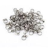 SOURCING MAP 100 piezas 6 66 A 12 mm anillo de tornillo sin fin para abrazaderas de tubo flexible aro cierre tono plateado