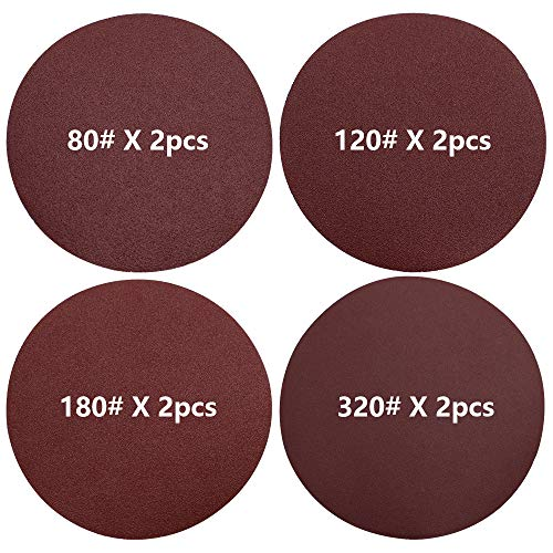 LumenTY 8 pezzi di carta vetrata 150 mm dischi abrasivi autoadesivi rossi P80/P120/P180/320, per levigatrice eccentrica senza foro