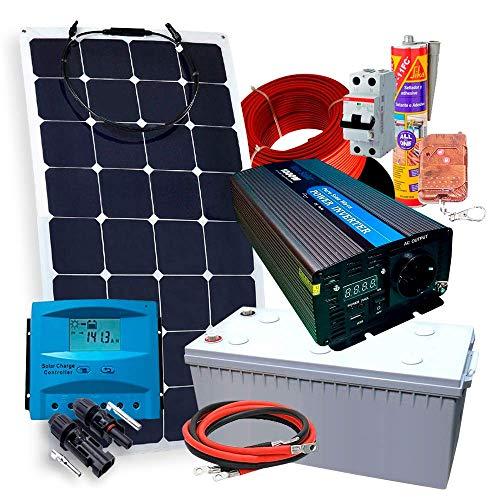 Kit Solaire Plusproduits 12V + 1 Panneau Solaire Flexible 150W + Convertisseur 1.000W Avec Manette + Batterie AGM 150Ah