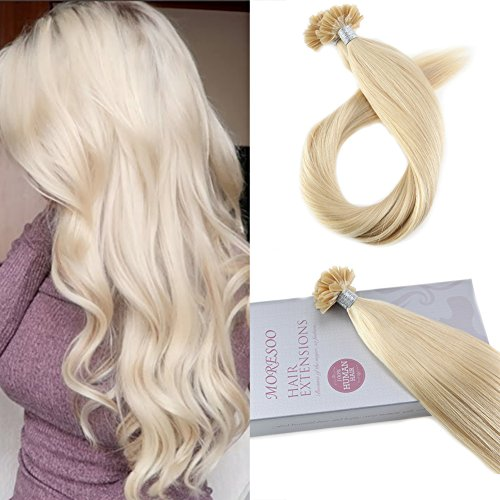 Moresoo 24-Inch Keratin Hair Extensions Human Hair Color Bleach Blonde