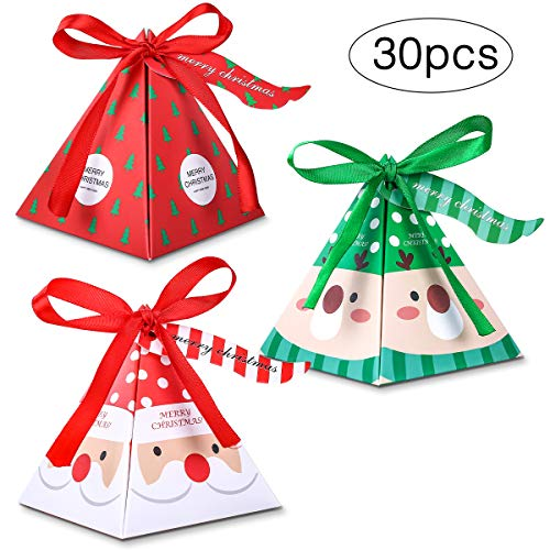 MELLIEX Weihnachten Geschenkbox, 30 Stück Keksschachtel Pralinenschachtel mit Bänder Hängeetiketten für Weihnachten Geschenk Weihnachtsdeko Weihnachtsbaum Dekoration