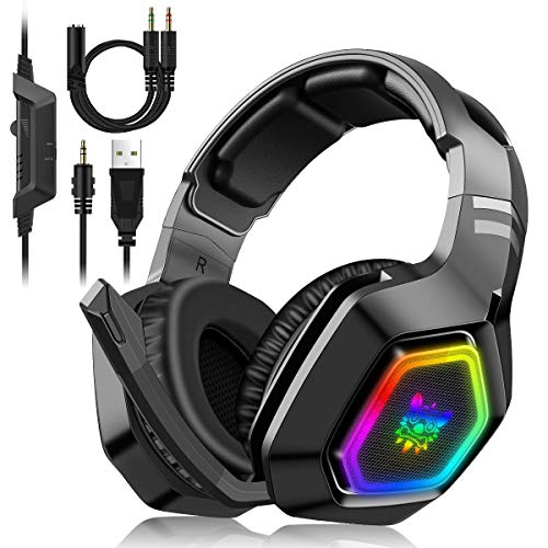 Gaming Headset PS4 PC Xbox One Kopfhörer mit Mikrofon 7.1-Surround-Sound, bequeme Ohrenschützer mit LED-Beleuchtung Geeignet für 3,5-mm-Buchse