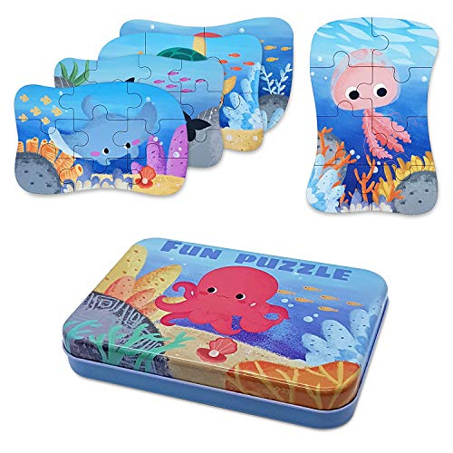 Puzzle in legno, giocattolo per bambini di 3 anni + Puzzle in legno Animali, ragazzo e ragazza, regalo di compleanno, gioco educativo, 5 diversi livelli di difficoltà: da 4 a 12 pezzi (acquatico)
