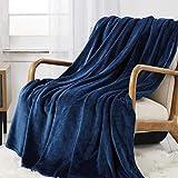 CozyLux Fleece Queen Blanket 90' x 90' Super Soft Cozy Flannel Velvet Fuzzy Plush Fluffy Hypoallergenic Microfiber Microfleece Bed Blanket for Travel Camping Chair Sofa Bed Navy Blue