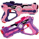 Liberty Imports Pink Infrared Laser Tag 2 Players Game Set for Kids - Indoor Outdoor Multiplayer Toy Guns Battle Blasters Mega Pack with Carrying Case (Pink/Purple)