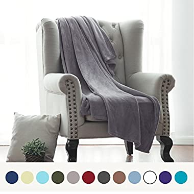 Bedsure Flannel Fleece Luxury Blanket Grey Throw Lightweight Cozy Plush Microfiber Solid Blanket