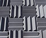 Bass Absorbing Wedge Style Panels - Soundproofing Acoustic Studio Foam - 12'x12'x4' Tiles - 2 Pack - DIY (Charcoal)