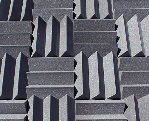 "Bass Absorbing Wedge Style Panels - Soundproofing Acoustic Studio Foam - 12""x12""x4"" Tiles - 2 Pack - DIY (Charcoal)"