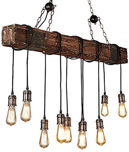 AXWT Vintage Oscuro Estilo de una Granja araña Angustiado Vigas de Madera Grande Isla Lineal araña de 10 lámpara del Techo de iluminación iluminación de la lámpara Nostalgia,Brown