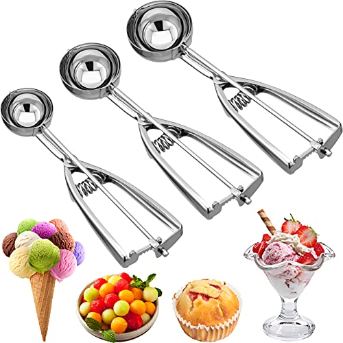 NEIJIANG Ice Cream Scoops Set ,Stainless Steel Cookie Scoop Set with Trigger Realse,Ergonomic Handle Scoop for Cookie Dough,L-M-S Size