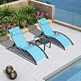 PURPLE LEAF Patio Chaise Lounge Set of 3 Outdoor Lounge Chair Beach Pool Sunbathing Lawn Lounger Recliner Chiar Outside Tanning Chairs with Arm for All Weather, Side Table Included, Turquoise Blue