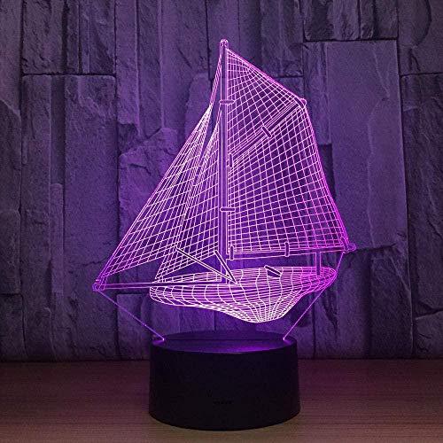 DXJA HCDZF Vela barco 3D lámpara LED 16 cambio de color noche lámpara para niños dormitorio decoración regalo interruptor remoto escritorio lámpara de mesa 3D noche luz