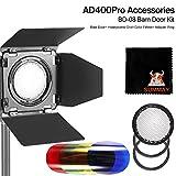 Godox BD-08 Kit de Accesorios para Flash Godox AD400Pro Flash para Exteriores (Honey Comb, Reflector de Cuatro alas y Cuatro filtros de Color) Accesorios Godox AD400 (BD-08)