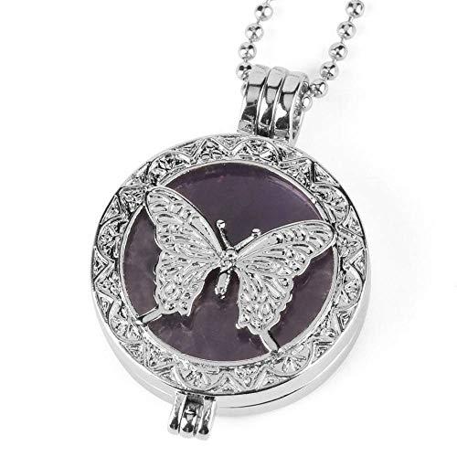 Collares Pendientes De Piedra,Medallón Hueco De Mariposa Para Mujer, Colgante De Gema De Amatista...