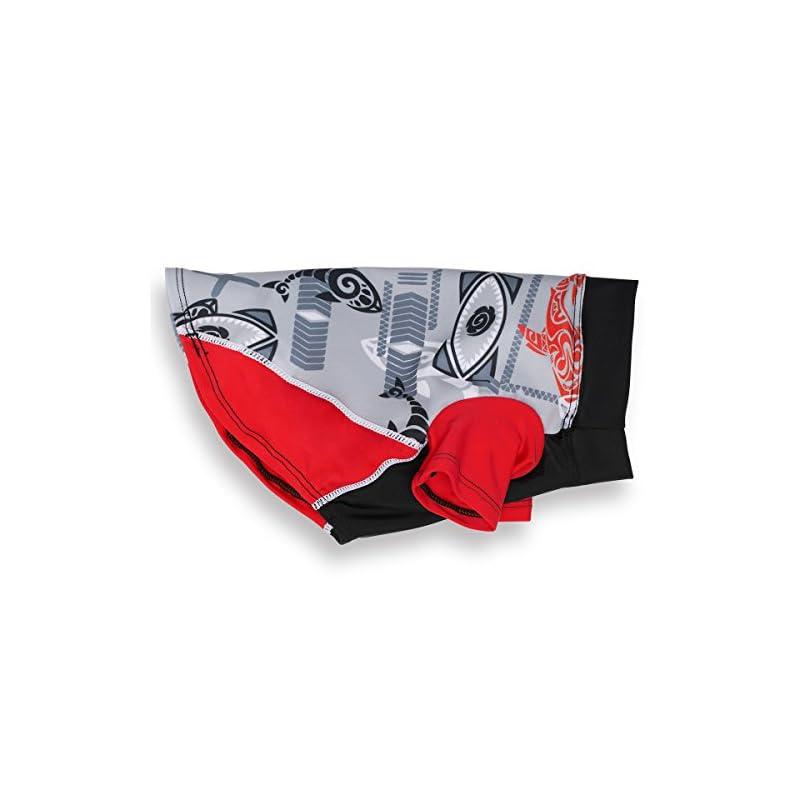 dog supplies online playapup dog sun shirt (upf 50+), tribal shark falcon red, large