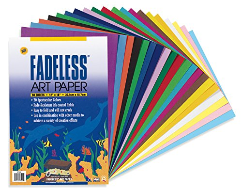 Fadeless Art Paper, 50 lb., 12 x 18 Inches, Multiple Colors, 60 Sheets