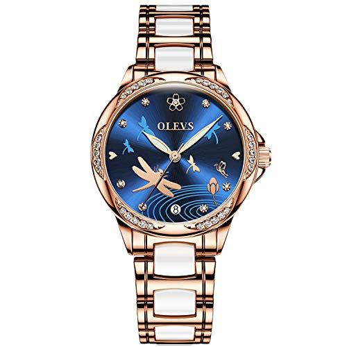 RORIOS Fashion Mujer Relojes de Pulsera Mecánico Automático Brillante Dial Acero Inoxidable Correa Relojes de Mujer