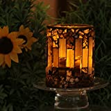 GiveU Brown Mosaic Flameless Candle,Pillar Led Candle with Timer, 3X4