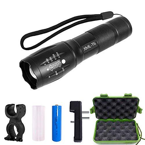 BIFY 3 in 1 LED Taschenlampe, 1000-Lumen-Taschenlampen CREE Wiederaufladbare Zoombare mit 6 Lichtmodi 18650 Akku und Ladegerät extrem hell für Camping im Freien erkunden [Energieklasse A +++]