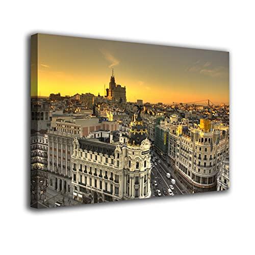 Cuadro Lienzo Canvas Madrid Soleado Gran Via Metropolis – Varias Medidas - Lienzo de Tela Bastidor Madera de 3 cm - Impresion Alta resolucion (50, 33)