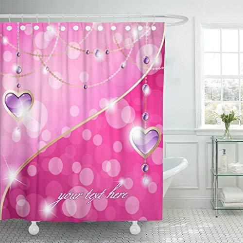 XZLWW Paars Goud Hot Roze Sparkling en Hart Hanger Ketting Vriendschap Douchegordijn Waterdicht Polyester Stof
