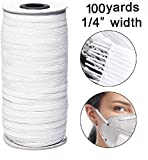 1/4 Inch Width 100 Yards Length Braided Elastic Band White Elastic String Cord Heavy Stretch High Elasticity Knit Elastic Band for Sewing Craft DIY
