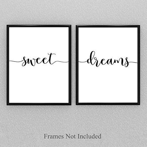 Sweet Dreams - Set of Two 11x14 Unframed Typography Art Prints - Makes a Great Bedroom Decor Under $25