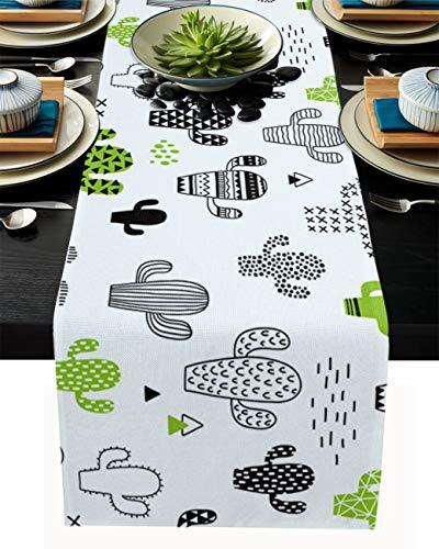 FAMILYDECOR Camino de mesa de arpillera de lino, bufandas de 45,7 x 182,8 cm, bonito patrón de cactus, caminos de mesa para fiestas de vacaciones, comedor, cocina, decoración de boda
